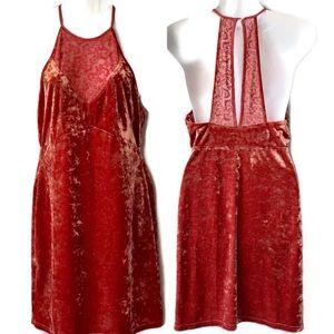 Free People Copper Color Velvet Body Con Dress,Med
